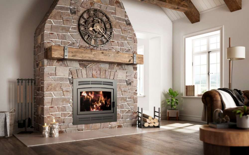 Ambiance Elegance 36 Wood Fireplace, Rustic facade