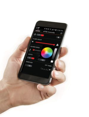 You can fully manage your gas fireplace from your cell phone with Napoleon's eFIRE app.
